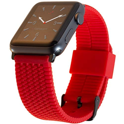 Carterjett Extra Large Sport Strap Compatible Apple Watch Band Red Silicone Tire Tread Replacement iWatch Band 42mm Super Long for XXXL Wrists Compatible Apple Watch Series 1 2 3, 42 XL/XXL Red