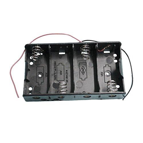 Battery Holder Case for 4 x C 1.5V - TOOGOO(R) 2 x Rectangle Black Plastic 4 x C 1.5V Battery Holder Case Storage Box