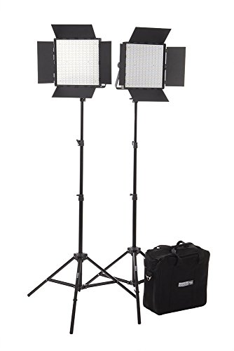 Fovitec  StudioPRO - 2x Daylight 600 LED Panel Bundle w/ Barndoors, Stands, & Carrying Case - [Continuous][Adjustable Lighting][V-Lock Compatible]