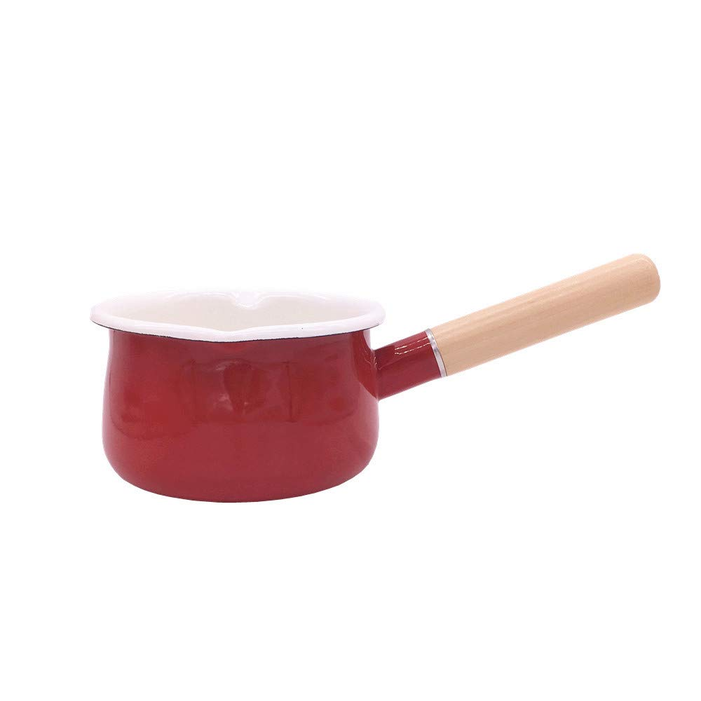 YumCute Home Enamel Sauce Pan Healthy White Enameled Inside Coating Iron Milk Pan and Butter Warmer with Wooden Handle Handy Pot, Two Pour Spouts, 15cm 1-Quart (Red)