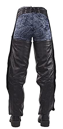 Insulated Braided Leather Motorcycle Chaps XL