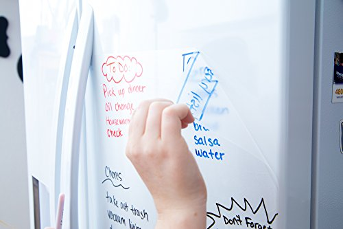 Clear Dry Erase Contact Paper Roll (6.5 ft Extra Large) 3 Dry-Erase Markers & Eraser Cloth Included - Transparent Wall Sticker Vinyl Decal - Self Adhesive Whiteboard Wallpaper by - Decals Transparent