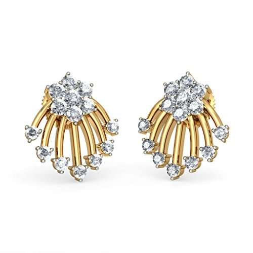 14 K Or jaune 750/1000 CT TW White-diamond (IJ | SI) Boucles d'oreille à tige