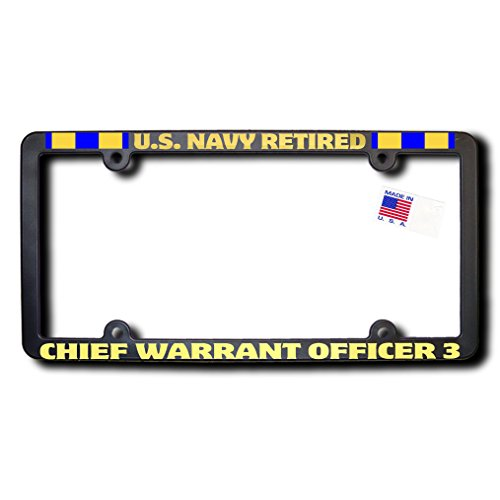 US NAVY Retired CHIEF WARRANT OFFICER 3 License Frame w/METALLIC Gold Lettering & Naval Expeditionary ()