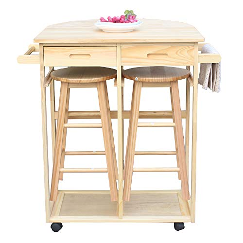 SSLine Rolling Kitchen Island with Seating 3pcs Dining Table Set with 2 Stools,Wood Drop Leaf Breakfast Cart Table and Chair,Space Saving Foldable Kitchen Table On Wheels with 2 Drawer-Semicircle
