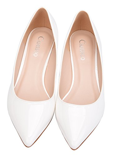 Slip Comfor Classic Women's Shoe Low Pump Heel Pointed White Toe Pu Wedding Dress On Camssoo Shoes qFtw5EF