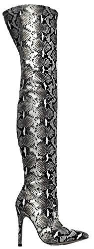 Appuntita Coscia 3 Ginocchio Della Hokkaido Spillo Sopra Punta Stivali Serpente Nero C Bianco Pelle qUw68RTT