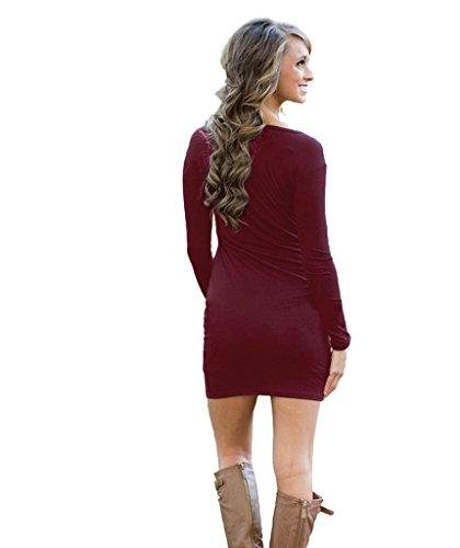Plaine Basique À Manches Longues Robe Moulante Rouge Vin Féminin Dantiya