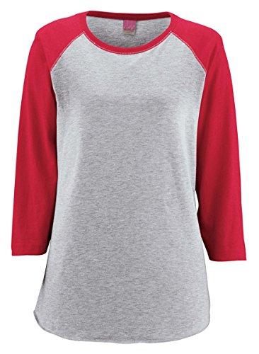 LAT-Ladies' Fine Jersey Baseball T-Shirt-3530-XXL-Vntge Hthr- Vntge Red -