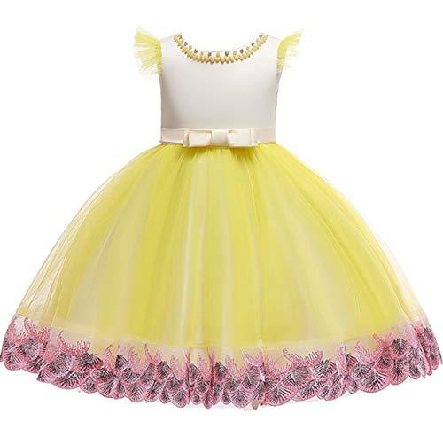 Baby Girls Dress Pageant Flower Children Costume Dresses Sleeveless Dresses,Yellow,3T for $<!--$26.92-->