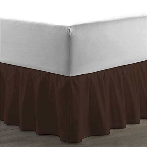 Utra Soft 800 Series 1-Piece Ruffled/Dust Ruffle Bed Skirt, Egyptian Cotton, Chocolate, Full XL (54 x 80) Inches, Drop Length 13 Inches