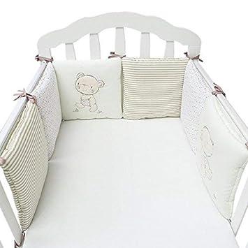 6 Piezas Set de cuna para bebé protectores diseño de osos Protector de Cuna: Amazon.es: Bebé