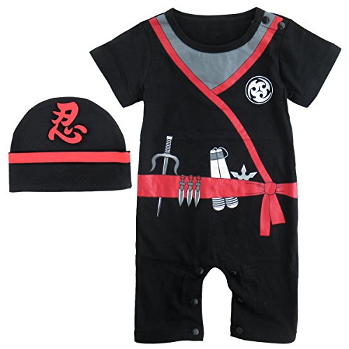Mombebe Baby Boys' Ninja Halloween Costume Romper with Hat (6-12 Months, (Romper Halloween Costumes)