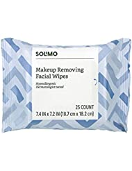 Amazon Brand - Solimo Makeup Removing Facial Wipes, Dermatologist Tested, Hypoallergenic, 25 Count