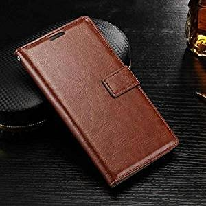 nkarta OST Leather Wallet Magnetic Clip Stand Flip Case Cover for Samsung Galaxy C9 Pro  Brown  Mobile Phone Cases   Covers