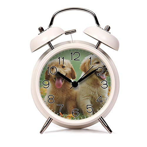k for Kids Child Retro Silent Pointer Alarm Clock Strong Bedside Tables Cute Loud Alarm Light House Decorations 665.Two Yellow Labrador Retriever Puppies(White) ()