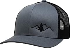 Simple and clean design for those that love the outdoors - camping, hiking, fishing, hunting. The embroidered logo is placed on a high quality hat. The front panels are structured with mesh back. The hat has an adjustable plastic snap closure...