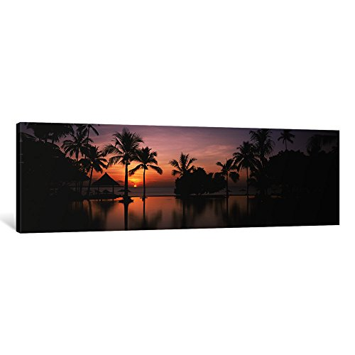 iCanvasART 1 Piece Sunset over Hotel Pool, Lombok, West Nusa Tenggara, Indonesia Canvas Print by Panoramic Images, 48'' x 16''/0.75'' Depth by iCanvasART
