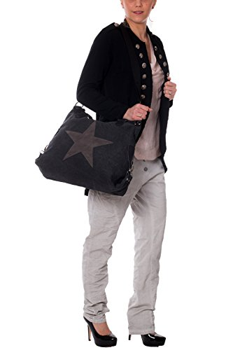 Donna Borsetta con stella brillantini Tela con pelle è Di lunga durata anti-strappo robusto Combinazione Manico per la Spalla Borsa a tracolla TCSGVL - Salmone, One Size