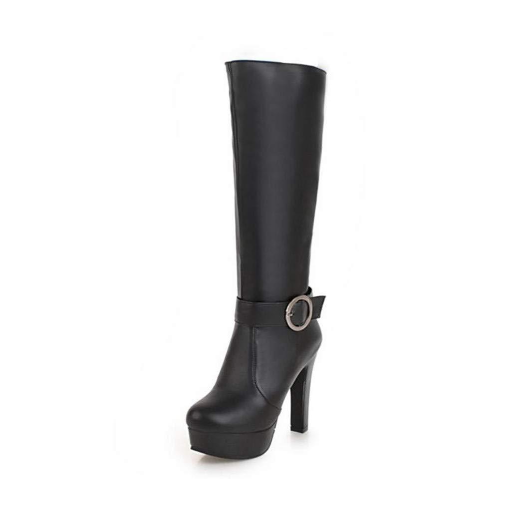 HAOLIEQUAN Größe 33-45 Frauen High Heels Stiefel Plateauschuhe Kniehohe Frau Winter Warme Kurze Stiefel Mode Concise Kniehohe Plateauschuhe Stiefel ad695f