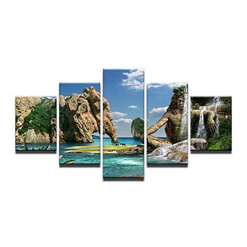 40x60 40x80 40x100cm No Frame Abstract Mountain Human Shape Just The Animal Elephant Waterfall Seascape Canvas Oil Art Painting HD Home Wall Decor Quadros
