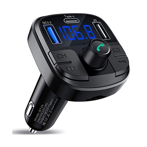 419WR6KCEwL. SS600 - Clydek Bluetooth 5.0 Car FM Transmitter Wireless Audio Transmitter Car Charger with QC3.0 and Type-C Quick Charge, Car Radio Audio Adapter MP3 Player Support Hands-Free Calling, USB Drive, TF Card