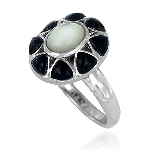 Rhodium Plated 925 Sterling Silver Mother or Pearl with Black Onyx Oval Flower Gemstone Ring, Size 6