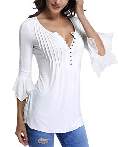 Bell Sleeve Tops for Women Button Down Pleated Front Henley Shirts Lace Insert Peasant Blouses White-Small