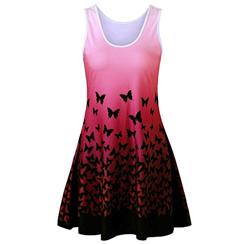 Knit Butterfly Gown - HGWXX7 Womens Summer Casual Butterfly Print Sleeveless O-Neck Skirt Party Mini Dress (XL, Red)