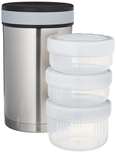 Laken Thermo 34 Ounce Vacuum Insulated Food Jar, Stainless Steel + Neoprene Cover