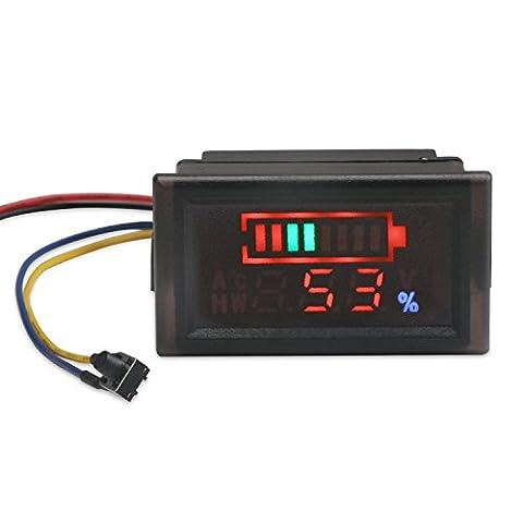 DROK 2in1 Battery Monitor Digital Voltmeter Tester for Electromobile, Waterproof LED Capacity Tester for 12V/24V/36V/48V Lead-acid Cell Lithium Battery, DC6-120V Volts Meter - 24v Lead Acid Battery