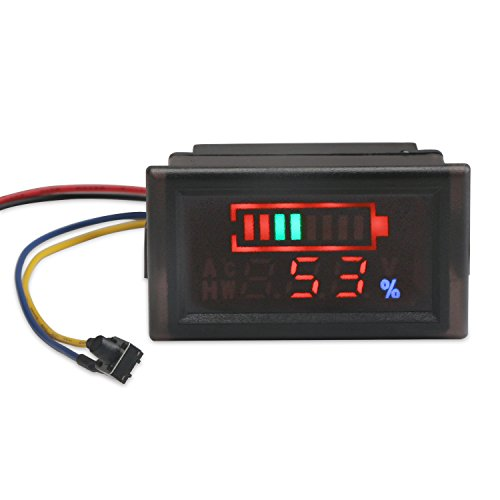 DROK 2in1 Battery Monitor Digital Voltmeter Tester for Electromobile, Waterproof LED Capacity Tester for 12V/24V/36V/48V Lead-acid Cell Lithium Battery, DC6-120V Volts Meter Panel