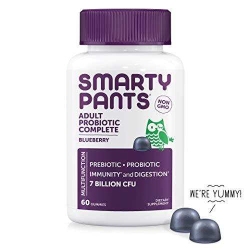 SmartyPants Adult Probiotic Complete; Vegan,Probiotics & Prebiotics; Digestive & Immune Support* Gummies; 7 billion CFU,  NON-GMO, NO REFRIGERATION REQUIRED, Blueberry Flavor, 60 Count (30 Day Supply)