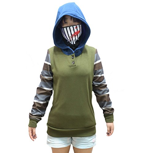 Creepypasta Hoodie Ticci Toby Women's Thicken Pullover Jacket Sweater Cosplay Costume  (S, Army Green)