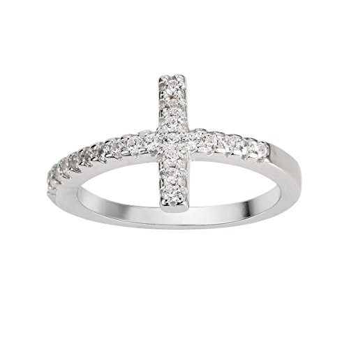 CloseoutWarehouse Two Tone Plated Sterling Silver Sideway Cross Ring