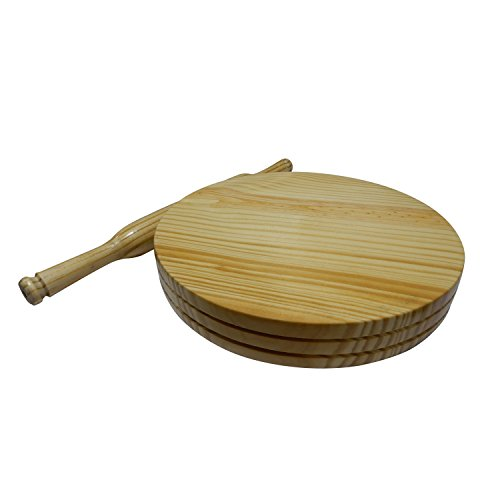 Handmade Wooden Chapati Maker Serving Board Round Roti Maker with Rolling Pin Kitchen Useful Tool 9 Inch by IndiaBigShop