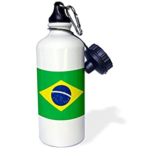3dRose wb_157837_1 Flag of Brazil-Bandeira Do Brasil-Brazilian Green Yellow Rhombus with Dark Blue Circle 27 Stars Sports Water Bottle, 21 oz, White