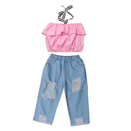 5431c6c20 Greenafter Kid Baby Girls Ruffle Tops + Destroyed Ripped Jeans 2pcs  Clothing Outfit Set