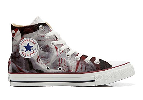 Converse All Star Customized - zapatos personalizados (Producto Artesano) desvaneció blanco rosa roja