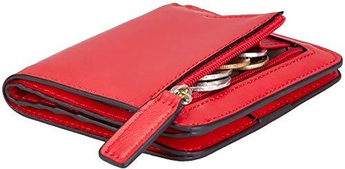 NapaWalli Womens Rfid Blocking Small Compact Bifold Luxury Genuine Leather Pocket Wallet Ladies Mini Purse with ID Window(wax red)