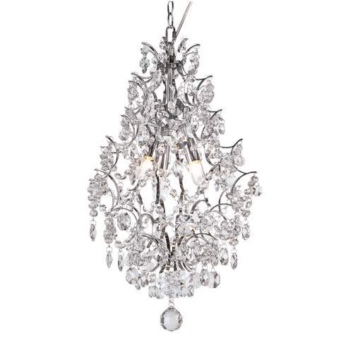 - Trans Globe Crystal Elegance Polished Chrome 3-Light Pendant Light HH-1PC