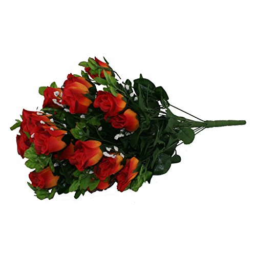 FloristryWarehouse Artificial silk flower Burnt Orange Rose & Gyp bunch 24 stems of Roses 21 inches -