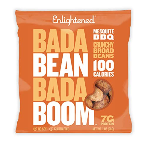 Enlightened Bada Bean Boom Plant Protein Gluten Free Crunchy Broad Beans Snacks, Mesquite BBQ, 1 Ounce (Pack of ()