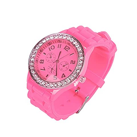 OFTEN Ladies Women Girl Silicone Quartz Crystal Stone Jelly Wrist Watch (Pink Tag Watch)