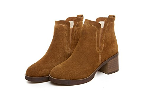wdjjjnnnv Vintage Leather Women's High Heel Ankle Boots Shoes CAMEL-39 yGtQYGoOq