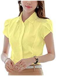 DPO Lady's Cotton Collared Pleated Button Down Shirt Short Sleeve Blouse