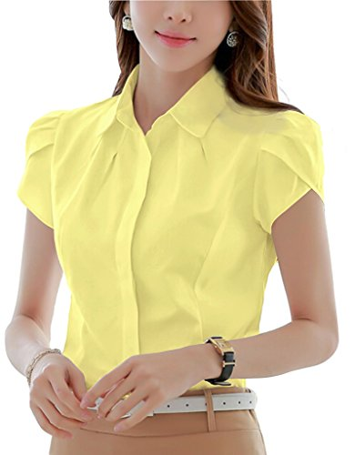 (Double Plus Open DPO Women's Collared Button Down Short Sleeve Shirt Lapel Collar Blouse Yellow 14)