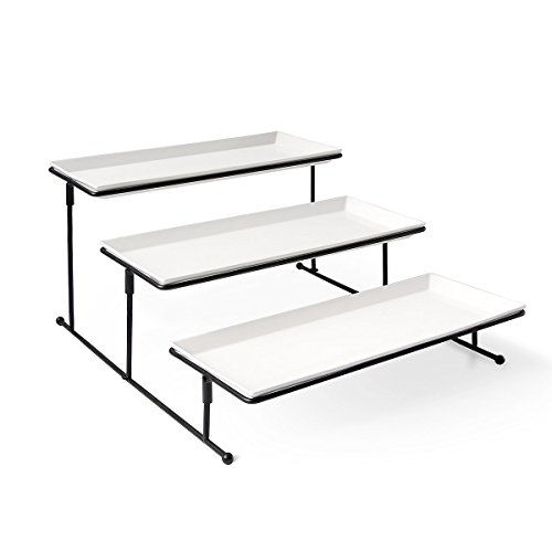Sweese 3302 3 Tiered Serving Stand - Sturdier Food Server Display Rack with Rectangular Porcelain Platters/Trays for Parties ()