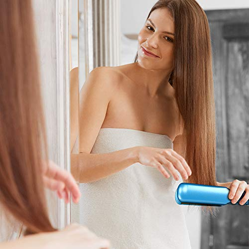 KIPOZI Pro Nano Titanium Flat Iron Hair Straightener with Digital LCD Display, Heats Up Instantly, A High Heat of 450 Degrees, Dual Voltage, 1.75 Wide Plate Blue