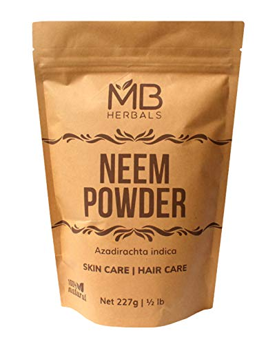 MB Herbals Pure Neem Powder 227 Gram | Half Pound | 8 Ounce | Pure Wild Crafted Neem Leaf Powder | Very Bitter Neem Supplement for Skin Hair and Detox | Azadirachta Indica ()